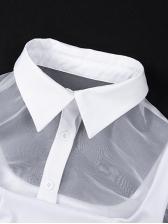 Turndown Collar Lantern Sleeve Two Pieces Sets