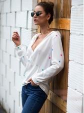 V Neck Multicolored Star Print Hoodies For Women
