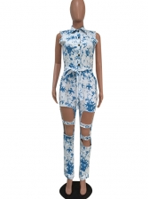 Casual Printed Hollow Out Denim Jumpsuits For Women