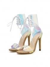 Euro Fashion Wood Grain Lace Up High Heels