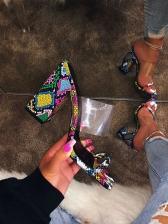 Euro Colorful Snake Print Chunky Heeled Slippers