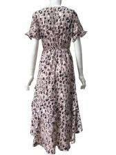 Deep V Bow Tied Printed Ruffle Beach Dresses