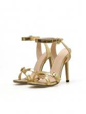 Euro Style Ankle Strap Golden Stiletto Heels