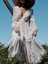 V Neck Hollow Out Irregular Hem Long Sleeve Boutique Dress