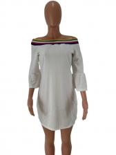 Off Shoulder Striped Patchwork T-shirts For Women
