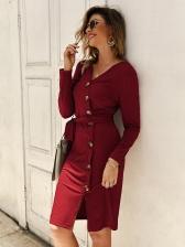 Solid Split Long Sleeve Knitted Dresses