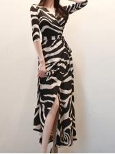 VINTAGE Zebra-stripe Tie Wrap Maxi Dress