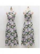 Fresh Printed Large Hem Sleeveless Maxi Dress