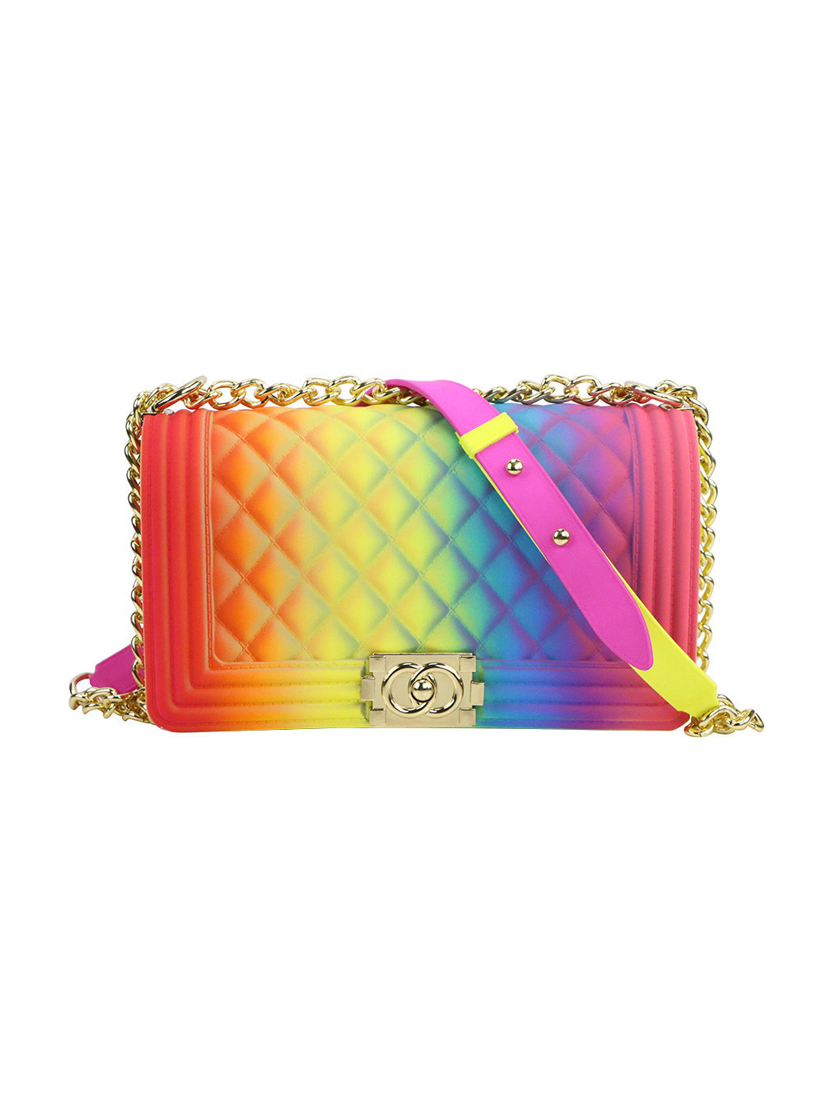 Gradient Iridescent Rhombus Chain Shoulder Bag