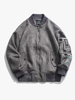 Stand Collar Zipper Up Men Bomber Jacket