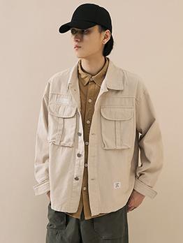Single-Breasted Pockets Mens Fashion Coats