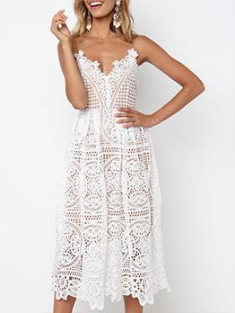 V Neck Hollow Out Spaghetti Strap Lace Dress
