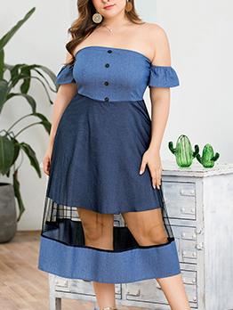 Boat Neck Tulle Patchwork Denim Plus Size Dress