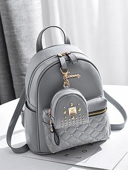 Korean Style Double-Zipper Backpack With Mini Bag