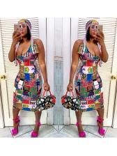 Fashion Printed Slip Dress With Head Scarf