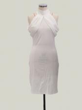 High Neck Solid Cold Shoulder Pencil Dress