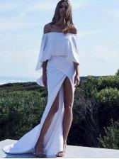 Elegant High Split Off The Shoulder Dress