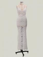 Sexy V Neck Split Sleeveless Lace Prom Dress