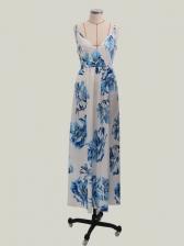 Sexy V Neck Printed Backless Maxi Dress