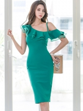 Stylish Solid Inclined Shoulder Ruffled Ladies Dress