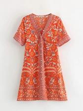 Vintage Printed V Neck Short Sleeve Boho Dresses