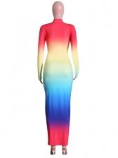 Gradient Iridescent Slim Long Sleeve Maxi Dress