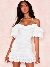Ruffles Detail Spaghetti Strap Off The Shoulder Dress
