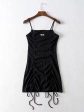 Sexy Solid Drawstring Mini Slip Dress