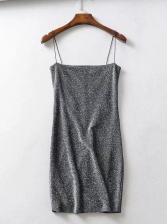 Sexy Solid Sleeveless Glitter Bodycon Dress