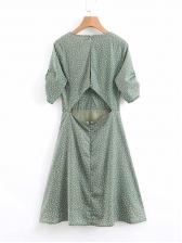 Chic V Neck Polka Dot Short Sleeve Dress