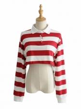 Stripe Bare Waist Cotton T Shirt