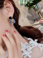Easy Matching Square Pattern Zircon Decor Women Earrings