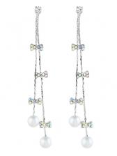 Charming Bow Tassels Pattern Pear Designer Earrings