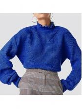 High Neck Long Sleeve Blue Sweater For Women