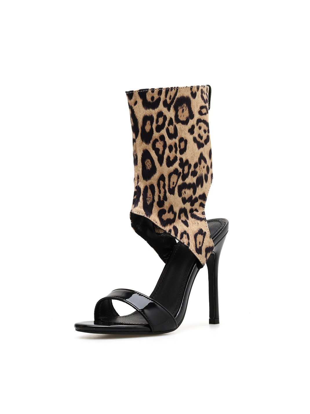Chic Leopard Printed Over The Ankle Stiletto Sandals