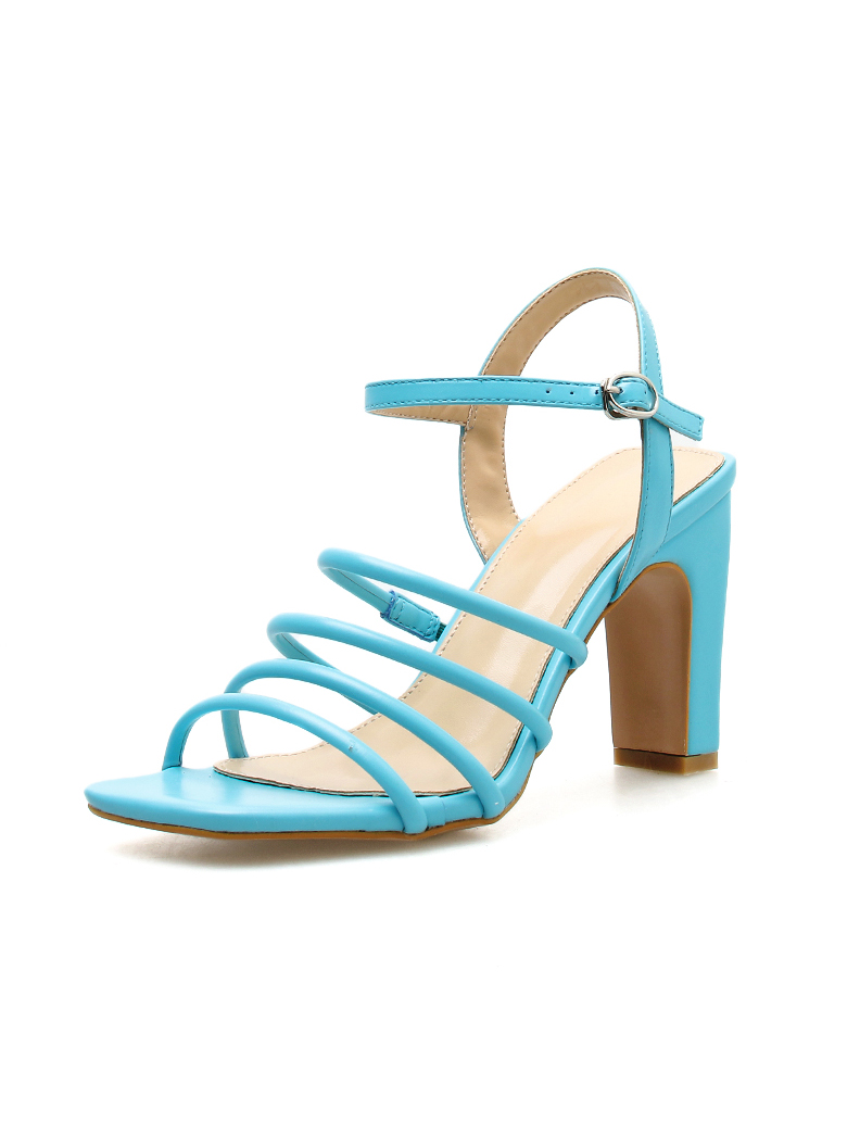 Multiple Straps Square Toe Chunky Heeled Sandals