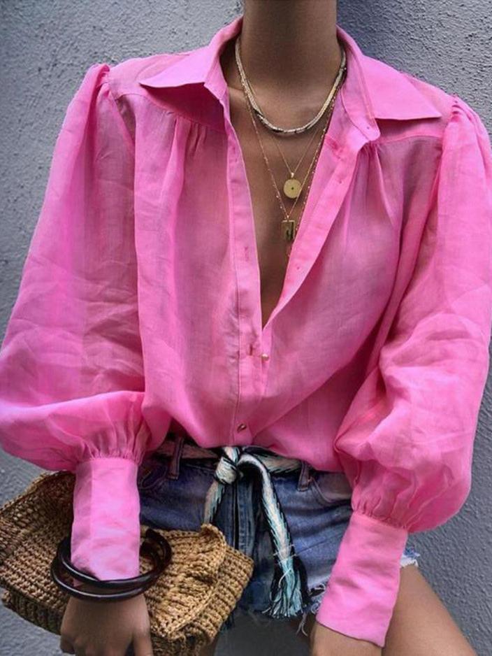 Turndown Neck Lantern Sleeve Solid Ladies Blouse