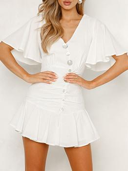 Stylish Ruffle Sleeve Button Decor Solid Dresses