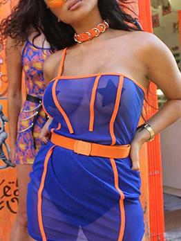 Contrast Color Perspective Gauze Slip Dress