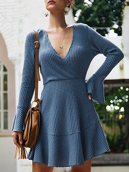 Stylish V Neck Ruffled Hem Long Sleeve Dress