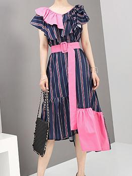 Contrast Color v Collar Striped Midi Dresses