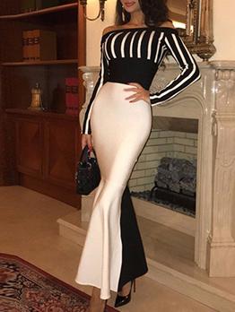 Contrast Color Striped Off The Shoulder Dress