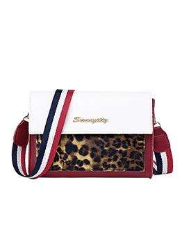 Leopard Printed Striped Belt Ladies Bag