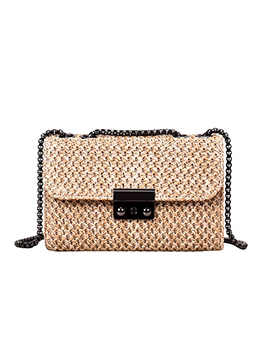 Rectangle Straw Weaving Black Chain Crossbody Bags