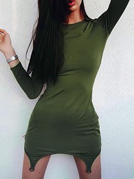 Euro Solid Irregular Hem Long Sleeve Dress
