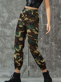 Multi Pocket Mid Waist Camo Pants