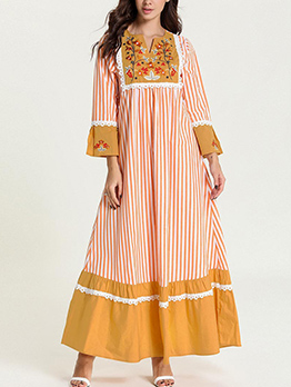 Striped Flower Embroidery Long Sleeve Muslim Dresses