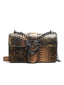 Vintage Style Snake Printed Empaistic Ladies Bag