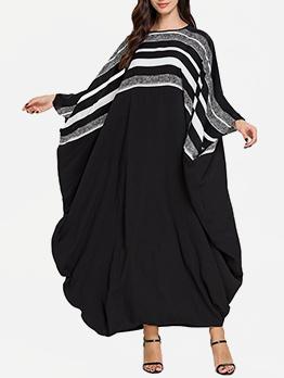 Striped Bat Sleeve Casual Muslim Dresses