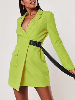 Solid Schoolbag Buckle Belt Blazer Dress
